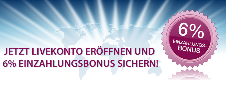 FXFlat bietet 6% Geldbonus auf die Ersteinzahlung bei Kontoeröffnung im 2012