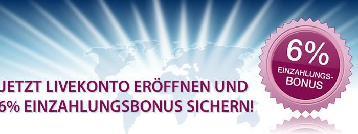6% Bonus auf die Ersteinlage bei FXFlat.de