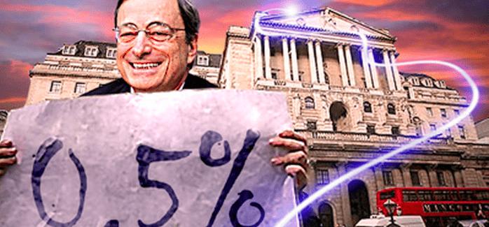 Englands Notenbank und die EZB behalten Leitzinsen unverändert bei 0,5%