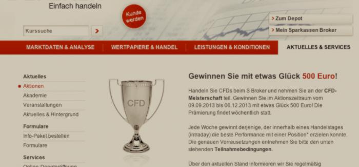 S-Broker CFD Meisterschaft 2013 – 500€ für den Tagessieger sowie Verlosung von iPhone5 & iPad Mini