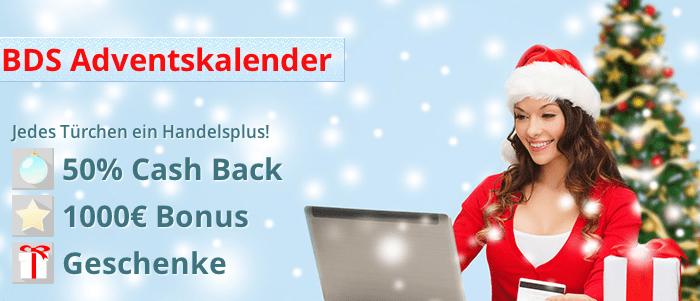 BDSwiss: Geschenke im Adventskalender – bis 1000€ Geschenkt oder 50% Cash Back Bonus für binäre Optionen