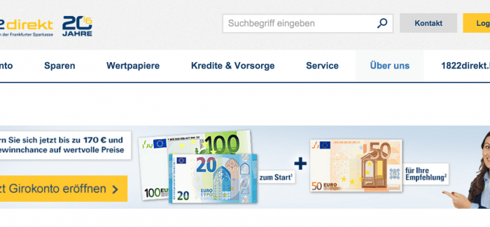 1822direkt feiert 2016 ihr 20-jähriges mit 100€ Prämie bei Depoteröffnung
