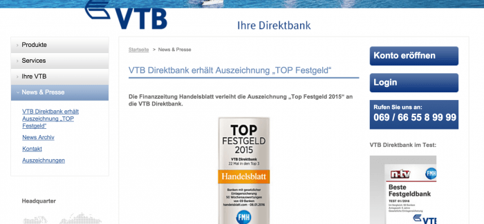 VTB Direktbank mit Auszeichnung und besten Wertungen bei Tagesgeld/Festgeldkonditionen bis zu 1,30%
